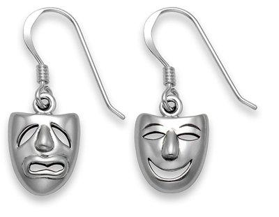 Silver Drop Earrings - Comedy/Tragedy Masks